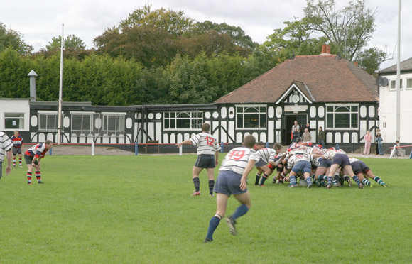 Action at Upper Park, home of Birkenhead Park Rugby Club