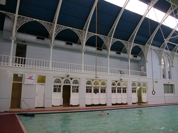 The ornate interior of the Western Baths Club