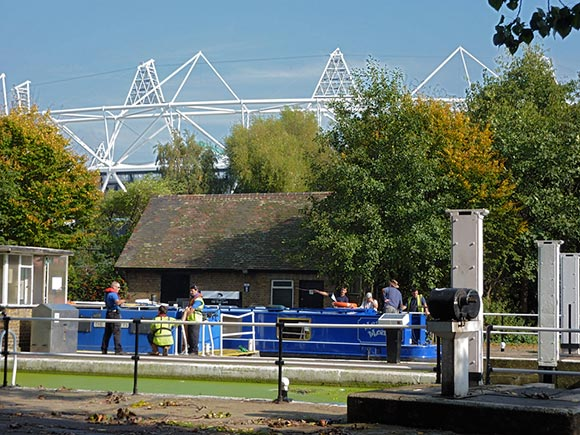 A glimpse of the Olympic Stadium at Old Ford Lock, on the edge of the Queen Elizabeth Olympic Park